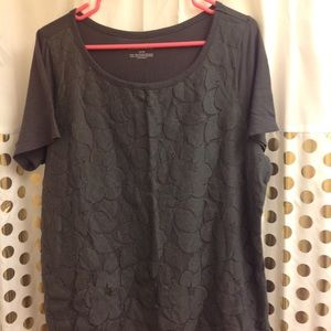 Lane Bryant Lace Front T Shirt Blouse 14/16 grey